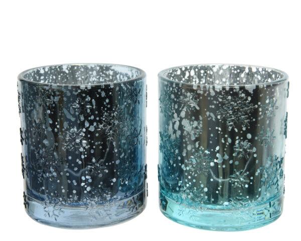 Küünlahoidja 7 x 8 cm sinine klaas