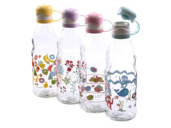 Klaaspudel dekooriga plastkorgiga 1 L