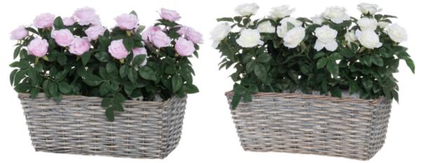 Kunstlill roosid korvis 36 cm