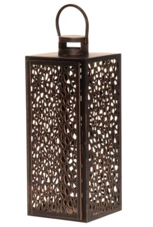 Latern Shimmer pruun metall 21,5 x 20,8 x 53 cm