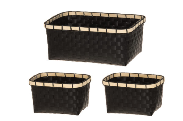 Sisustuskastide komplekt 3 tk mustad